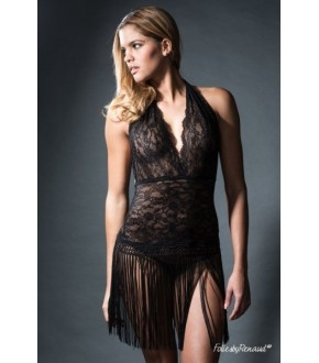 Robe sexy dentelle et franges - Folies Renaud Abby